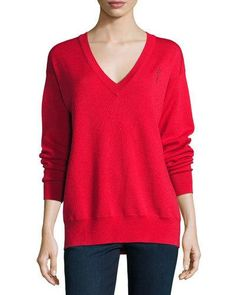 Grey+by+Jason+Wu+Merino+V+Neck+Pullover+Sweatshirt+Red+|+Activewear,+Pullovers,+Sweater+and+Clothing