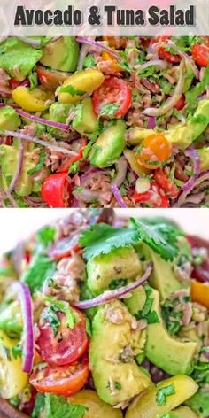 Very simple, flavorful, and tasty, this Avocado Tuna Salad requires just a few ingredients and 10 minutes of your time. Enjoy it for lunch or on the side with your favorite meal. Visit Cooktoria to get a printable recipe. recipe for dinner Healthy Snacks, Healthy Eating, Healthy Recipes, Healthy Drinks, Protein Veggie Meals, Easy Recipes, Vegetarian Recipes, Clean Eating Diet, Diet Drinks