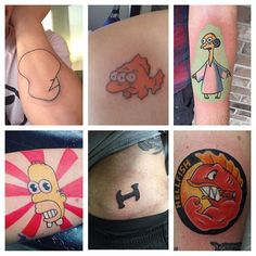People always ask what the most popular Simpsons tattoos are among fans so we did some research on the submissions we've received by email and DM and the votes are in.  Alien Burns - 210 Mr Sparkle - 219 Flying Hellfish - 224 Blinky the fish - 256 Stonecutters - 403 Dignity - 415  Making Dignity the most popular Simpsons tattoo to get.  Images were selected at random so tag 'em if you know 'em. --------------------------------------------- #thesimpsonstattoo #thesimpsons #simpsonstattoo…