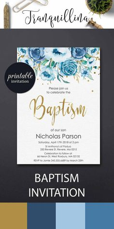 Boy Baptism Invitation Printable Christening Invitation dedication invitation, Blue floral baptism party invitations #baptism #boy