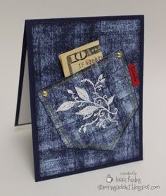 """By Lorri Heiling. To make the designer pattern, she ran Night of Navy ink pad horizontally then vertically across light blue cardstock. Pocket dimensions are 3 1/2"""" x 3 1/2."""" Stamp image on pocket in white pigment ink; heat emboss with white powder. Gold brads. Gold faux stitching around pocket."""