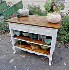 Transform an old dresser into a storage-packed kitchen island -- Antique Dresser Turned Kitchen Island Heir and Space.