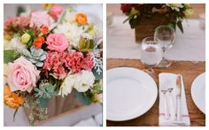 pink roses + succulents + orange, yellow, white accent flowers // Ranch wedding by Raya Carlisle