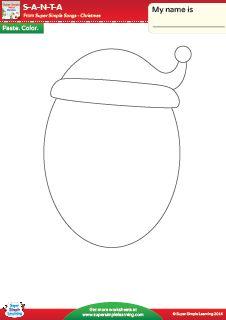 """S-A-N-T-A"" Make A Santa Face Christmas Worksheet from Super Simple Learning. #preK #kindergarten #ESL"