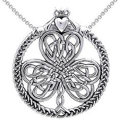 Cgc Sterling Silver Celtic Heart In Hands Clover Necklace
