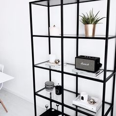 Monochrome home. Black and white interior. Marshall speaker. White living