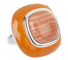 Sterling Bold Opaque Gemstone Cushion Shaped Ring - I have this bold piece and love it!!