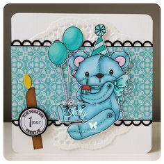 Birthday Bear - Jennifer Nilsson Art on card sample designed by Kitty www.intruderlady.blogspot.com.jpg