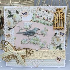 ChrissyBil | docrafts.com Shabby chic style card made using Docrafts botanicals and Eau de nil products with added birdcage and butterfly