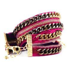 Hot Pink Double Wrap Zipper Bracelet