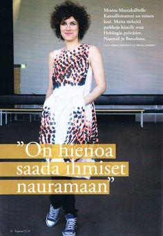 Expressi 2/2015 Minttu Mustakallio wearing Cumulus dress, pattern design Dog Design, from SS14 photo: Mikael Soininen