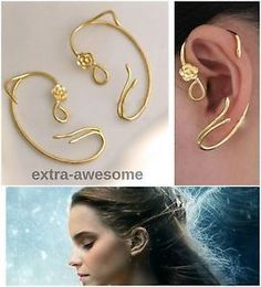 Beauty-and-the-Beast-Earrings-Ear-Cuff-Gold-Rose-Stud-Jewellry-Belle-Emma-Watson
