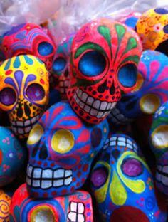 colorful papier mache dia de los muertos skulls
