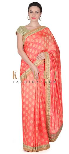 Buy this Peach weaved saree with kundan border only on Kalki