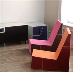 The Cubit Chair folds from a chair into a square! Perfect for kids in small spaces. Available in 8 colors and even more color combinations.