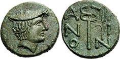 GRIECHISCHE MÜNZEN   THRAKIEN   AINOS     Bronze, um 280. Kopf des Hermes mit Petasos nach rechts. Rs: A-I/N-I/O-N. Kerykeion, am Schaft rechts Beizeichen Ähre. AMNG II/1, 192 Nr. 380; SNG Cop. -. 7,99g. Selten. Vorzüglich.