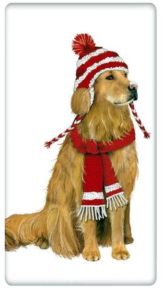 Winter Scarf & Hat Golden Retriever Dog 100% Cotton Flour Sack Dish Towel Tea Towel