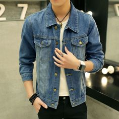 We love it and we know you also love it as well 2017 Men Denim Jacket Casual Slim Jean Jacket Coat Outdoors Fashion Autumn Long Sleeve Jacket Masculino Outwear Patchwork M-3XL just only $20.61 with free shipping worldwide  #jacketscoatsformen Plese click on picture to see our special price for you