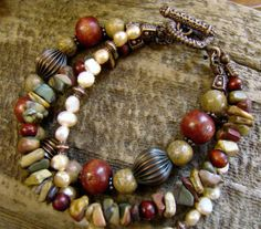 Three Strand Layered Jasper and Pearl Bracelet with por Sewartzee Jewelry Accessories, Jewelry Design, Women Jewelry, Handmade Bracelets, Handcrafted Jewelry, Artisan Jewelry, Beaded Jewelry, Jewelry Bracelets, Pearl Bracelets