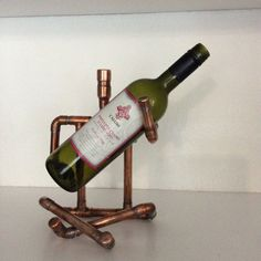 Copper WINE BOTTLE HOLDER Man by GinkgoLondonOnLine on Etsy