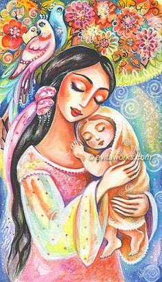 Mother and Child Painting, Mother and Baby Painting, Nursery Folk Art, Tree of Life, Wall Art - Art Print 9.5x13