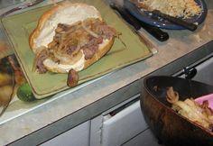 Making Hot Sandwiches Adding Roast Beef, Onion and Mushrooms