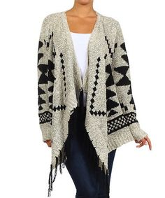 Another great find on #zulily! Black & White Tribal Open Cardigan #zulilyfinds