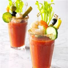 Bloody Mary Recipe -Horseradish makes this Bloody Mary special. Without the horseradish, you'll have a more traditional drink, and without the alcohol, you'll have a Virgin Mary. Serve with a stalk of celery, dill pickle spear or even green olives.—Taste of Home Test Kitchen