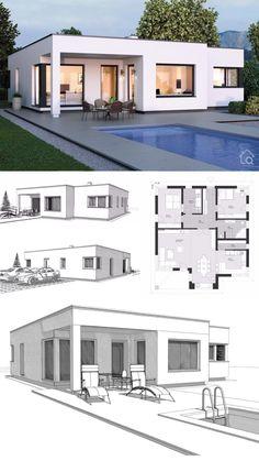 ELK Bungalow 125 in Bauhaus style - ELK prefabricated house Bungalow Style House, Bungalow Haus Design, Bungalow House Plans, Flat Roof House Designs, Small House Design, Model House Plan, My House Plans, Micro House Plans, Affordable House Plans