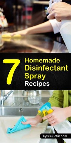 Learn how to make homemade disinfectant spray by using natural ingredients like vinegar, rubbing alcohol, vodka, water, and essential oils. These homemade cleaners will make your house the envy of all your neighbors. Cleaning Spray, Deep Cleaning Tips, House Cleaning Tips, Cleaning Solutions, Spring Cleaning, Homemade Cleaning Products, Cleaning Recipes, Natural Cleaning Products, Cleaning Hacks