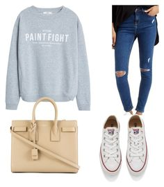 """""""Casually cute"""" by chloe12012 on Polyvore featuring Topshop, MANGO, Converse, Yves Saint Laurent, women's clothing, women, female, woman, misses and juniors"""