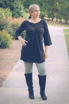 Grace Women's DeepV Yoke Top Tunic Knee and by roseandleedesigns, $10.95
