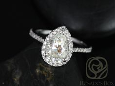 Tabitha 9x6mm 14kt White Gold Pear FB Moissanite and by RosadosBox