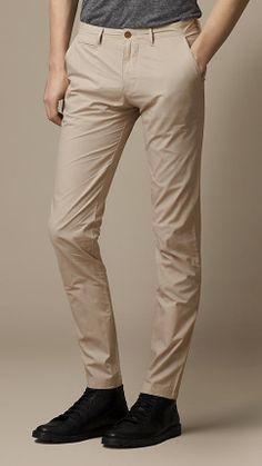 Slim Fit Cotton Poplin Chinos   Burberry