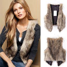 Ht Women Winter Vest Sleeveless Outerwear Coat Faux Fur Casual Waistcoat Jacket