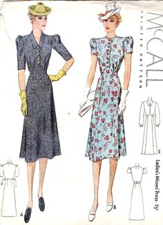 you could update this vintage sewing pattern by shortening the length and sleeves to make a beautiful tea dress Dress Patterns Uk, Vintage Dress Patterns, Vintage Dresses, Vintage Outfits, 1930s Fashion, Retro Fashion, Vintage Fashion, Fashion News, Vestidos Retro