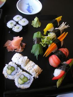Photo: The Vegan Sushi plate with Sushi Nigiri and Maki of all kinds at Midori's Floating World Cafe in MInneapolis.