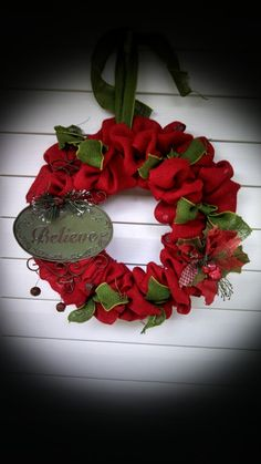 Believe Christmas Burlap Wreath