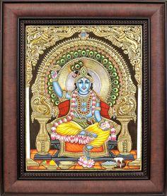 Chakradhari Shri Krishna (Framed) A Tanjore painting
