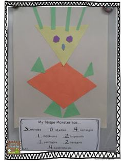 Classroom activity for geometry making shape monsters. KIds can cut out shapes they trace from their template. Geometry Lessons, Geometry Activities, Math Lessons, School Lessons, Math Classroom, Kindergarten Math, Classroom Activities, Classroom Ideas, Educational Activities