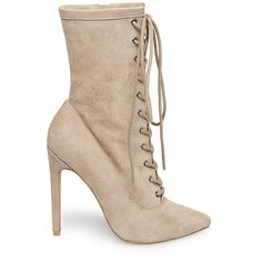 Steve Madden Satisfied Bootie Stilettos (€105) ❤ liked on Polyvore featuring shoes, boots, ankle booties, ankle boots, faux suede ankle booties, lace-up ankle booties, suede ankle boots and lace up high heel booties