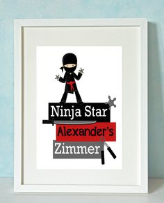 Bilder - Personalisierte Kinderbild - Traumjob Ninja - ein Designerstück von Rock-Maple-Sugar bei DaWanda