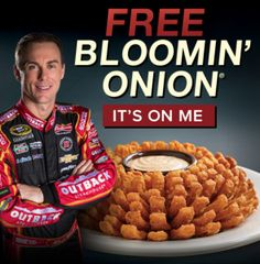 Hurry into Outback Steakhouse on June to score your FREE Blooming' Onion… Bloomin' Monday™ Free Bloomin' Onion® offer valid with any purchase. Free Baby Samples, Free Samples By Mail, Bloomin Onion, Restaurant Deals, Outback Steakhouse, Free Baby Stuff, Coupons, Food And Drink, Kevin Harvick