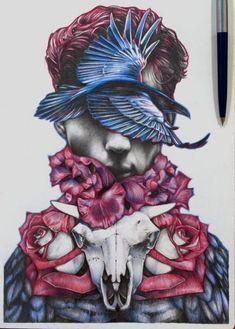 Ideas drawing pencil sketches medium for 2019 Sharpie Drawings, Pencil Drawings, Art Drawings, Fantasy Paintings, Fantasy Art, Skull Sketch, Pop Art Wallpaper, Human Art, Surreal Art