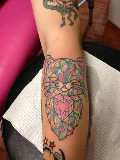 Colorful Crystal Cat Tattoo by Lauren Winzer
