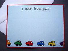 Just a Note Custom Notecards Thank you cards Boy Car Notecards Stationery on Etsy, $3.50