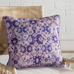 """Mistana Gardner Square Cotton Throw Pillow Size: 18"""" H x 18"""" W x 4"""" D, Color: Pale Pink/Purple/Violet/Pale Blue/Gray/Lilac"""