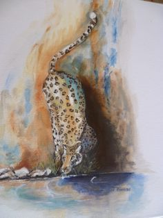 léopard 2015 tableau peinture huile