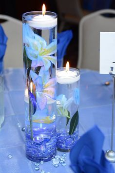 Quince Decorations, Quinceanera Decorations, Quinceanera Party, Wedding Decorations, Blue Wedding Centerpieces, Floating Candle Centerpieces, Pillar Candles, Vases, Purple Wedding