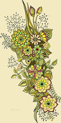 art illustration of an autumn bouquet of flowers, leaves and natural elements